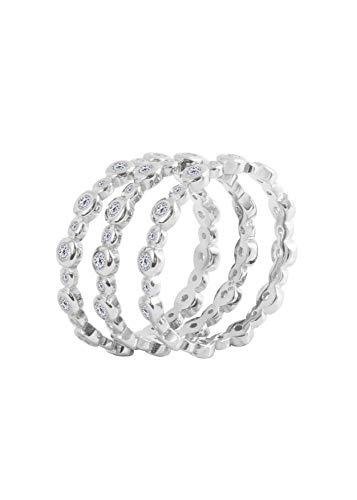 Juego de 3 anillos de plata de ley 925 con circonita cúbica XL y bisel boho eternidad (O)