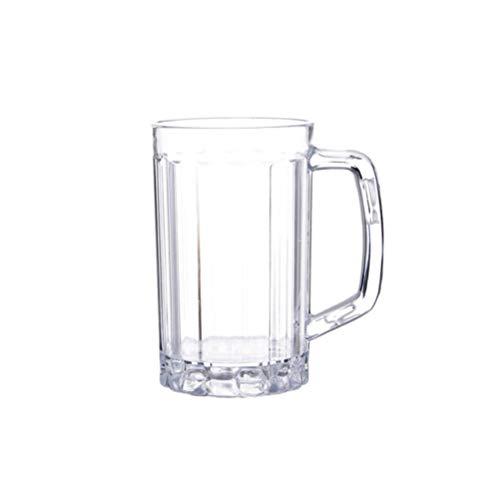 UPKOCH - Bicchieri da birra grande, con manico, in plastica trasparente, in acrilico, per birra, whisky, per casa, bar, party (390 ml) 540ml Immagine 1