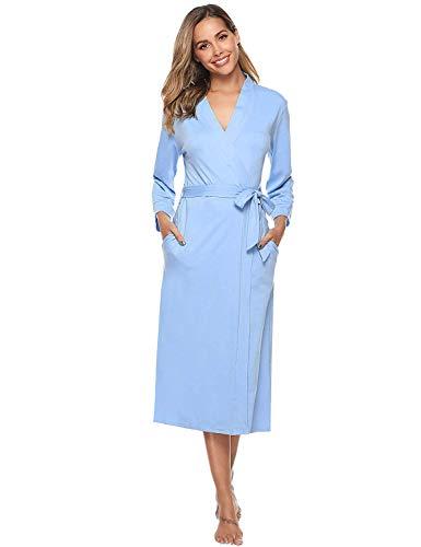 iClosam Damen Baumwolle Bademantel Leicht Mantel Morgenmantel V Kragen Saunamantel Schwarz L (XL—EU 48-50, Blau#1)