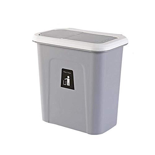 Hängende Mülltonne mit Deckel kleine kompakte Mülltonne für Küchenschranktür und Badezimmer Windeleimer hängende Mülltonne für Büro und Babybett (grau)