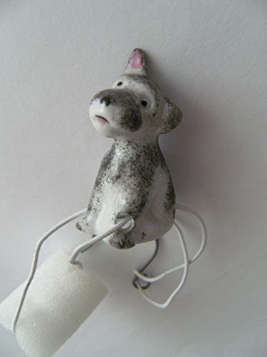 Lindner Porzellan Tropfenfänger Schnauzer, handbemalt, für Kaffee- oder Teekannen, Tier Hund
