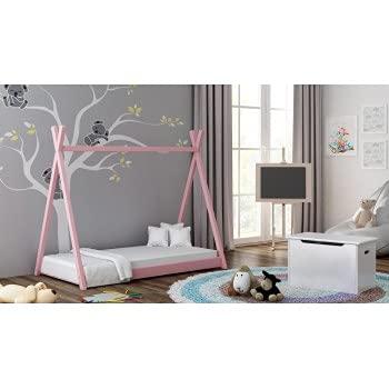 Children's Beds Home Massivholz Einzelhimmelbett - Titus Tepee Style für Kinder Kinder Kleinkind Junior mit Schaum - Kokosnuss Matratze (160x80, Pink)