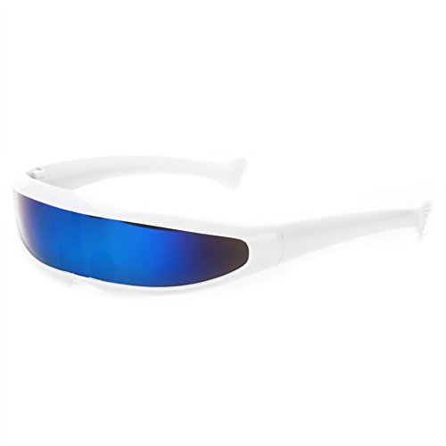 Futuristic Narrow Cyclops Sunglasses UV400 Personality, White, Size Medium