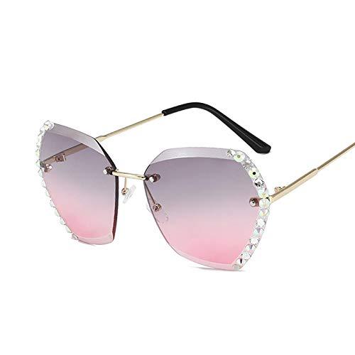 NJJX Gafas De Sol Vintage Para Mujer, Gafas De Sol Graduadas Sin Montura A La Moda, Cortinas, Lentes De Corte Para Mujer, Sin Marco, Gris, Diamante, Rosa