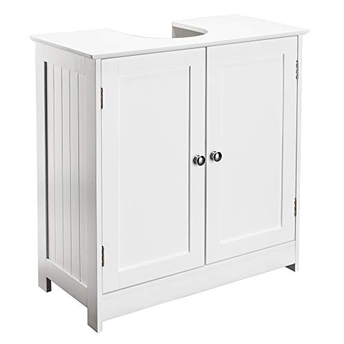 Bonnlo Pedestal Under Sink Storage Bathroom Vanity with 2 Doors Traditional Bathroom Cabinet Space Saver Organizer 23 5/8' x 11 7/16' x 23 5/8' (L x W x H) White (Pedestal Sink)