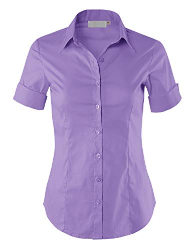 MAYSIX APPAREL Short Sleeve Stretchy Button Down Collar Office Formal Shirt Blouse for Women Lilac M