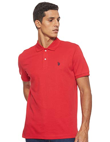U.S. Polo Assn. Men's Solid Interlock Polo, Engine Red, X-Large