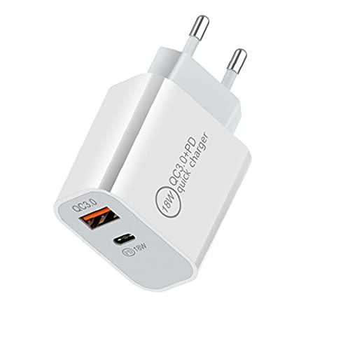 FeelMeet Cargador USB rápido del Cargador del Enchufe de teléfono USB Ultra C Cargador rápido con Boca del Doble 18W USB Cargador Blanco-Enchufe de la UE