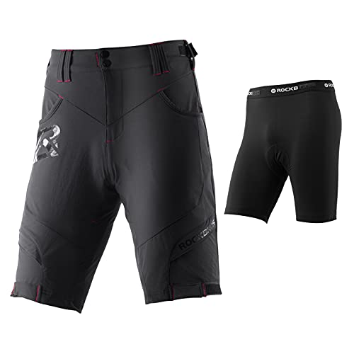 ROCKBROS Pantalones Cortos de Bicicleta 4D Acolchado con Ropa Interior Bolsillos Ciclismo Deporte MTB Montaña para Hombres (XL, Negro)