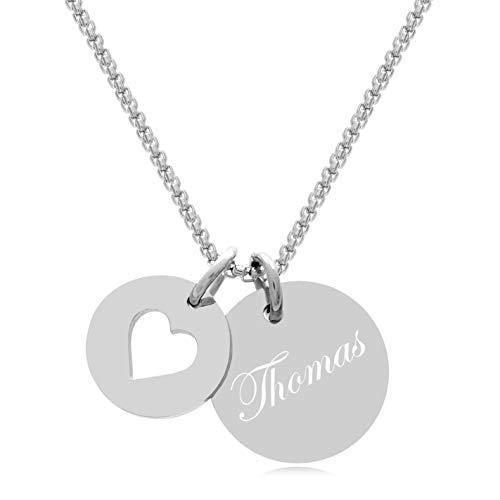 Timando Damen Kette mit Gravur Herz Anhänger Namenskette Edelstahl 45 cm