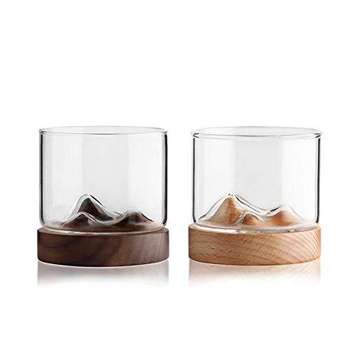 Detazhi 4 stücke modernhife Whisky Glass Cup mit hölzerner Basis 120 ml japanischer Stil Stil hölzerner Unterseite Wein Glas Tee kaffeetasse (korken), 2 (Color : 1)