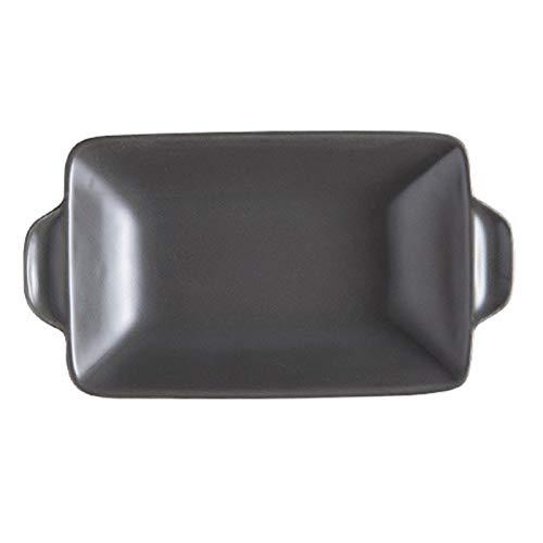 leader Plato rectangular de cerámica para hornear, para asar lasaña, para horno, banquetes y uso diario, color gris