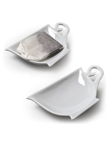 "Set of 6 Pieces 4"" White Porcelain Teacup Teabag Tea Bag Holder Plate Dish"