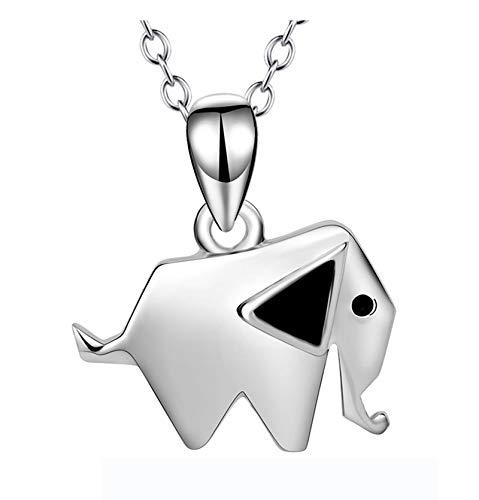 Epinki Collar Plata de Ley 925 Plata Origami Elefante Colgante Collar para Mujer Chicas Cadena Longitud 18 Pulgadas