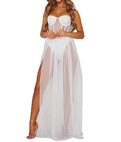 Vestido Largo de Verano para Mujer Vestido Sexy de Tirantes de Malla Transparente Camisola Cabo Suelto Ropa Casual de Playa de Vacaciones para Chicas Novias (Blanco, XL)