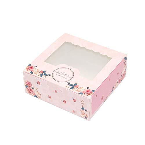 Caja de regalo 10 piezas con ventana se Cupcake Packaging Galletas de fiesta plegables Multiuso Fácil de ensamblar Papel de boda Dulces lindos(M)