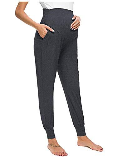 Love2Mi - Pantaloni per il tempo libero per donne in gravidanza, comodi pantaloni elasticizzati grigio scuro M