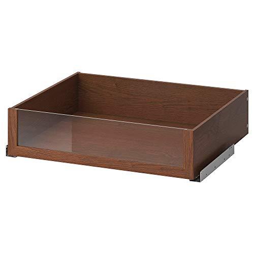 Cajón KOMPLEMENT con frente de vidrio 67,8x56,9x16 cm efecto ceniza teñido marrón