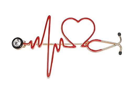 bijouxmodefashion Broche épingle stéthoscope Docteur et Coeur Rouge Style électrocardiogramme.