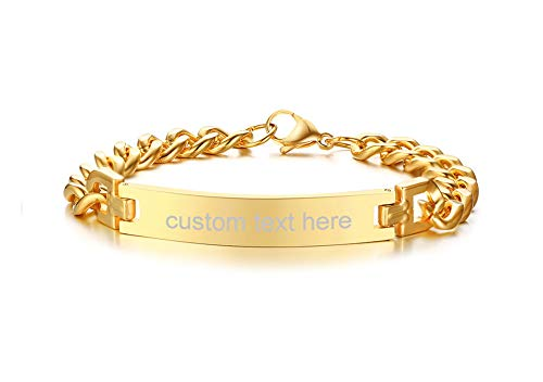 MG Personalized Custom Engraving Plain Stainless Steel ID Bracelets for Men Women,Gold Plated,8.3'