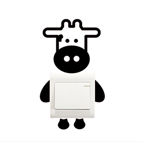 Hacoly 3D Lichtschalter Wandaufkleber Kühe Wandschalter Wandsticker Möbel Küche Toilette Steckdose selbstklebend Aufkleber Wandtattoo Esszimmer Wanddeko Ideal für die Dekoration Ihres Hauses -
