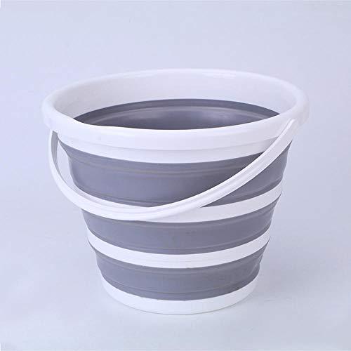 Cubo plegable Cubo plegable de silicona de gran capacidad 10L portátil de ahorro de espacio pesca camper cubo baño accesorios de lavandería-gris