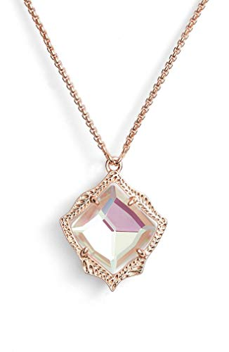 Kendra Scott Kacey Adjustable Length Pendant Necklace for Women, Dainty Fashion Jewelry, 14k Rose Gold Plated, Iridescent Dichroic Glass