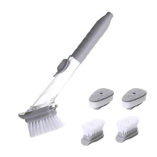 Cepillo para lavavajillas de cocina con dosificador de jabón, cepillo de cocina para limpiar ollas y fregaderos, cepillo de limpieza de mango largo 3 en 1