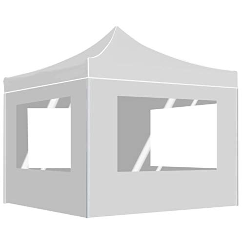 vidaXL Carpa Plegable Profesional con Paredes Aluminio Cenador Pagoda Pérgola Fiestas Celebraciones Estructuras Recintos Parasoles 3x3 m Blanco