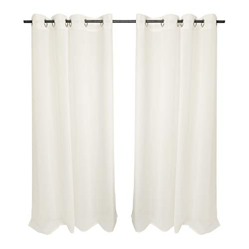 Hengda 2er Set Voile Gardinen mit Ösen Creme Transparente Vorhang Wohnzimmer Scheibengardinen Modern gardinen für Schlafzimmer Babyroom 175x140 cm