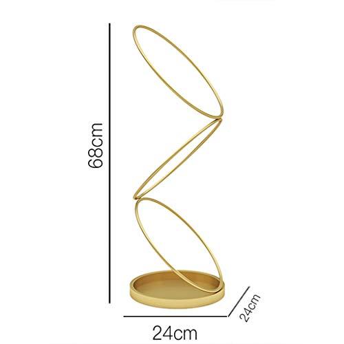 RYY paraplustandaard creative-metalen parapluhouder - multifunctioneel canes/wandelstok-rek - vrije paraplu staande opslag emmer, goed voor entree, kantoor, hotel, 24 × 68 cm