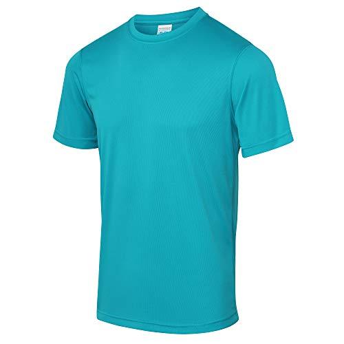 Just Cool - Camiseta lisa para hombre, Primavera-Verano, envolvente, Liso, Manga Corta, Hombre, color Azul Turquesa, tamaño L