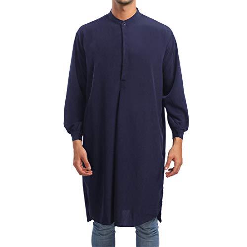 Men's Ethnic Kaftan Robe Saudi Casual Loose Muslim Long Shirt Dress Classic Mens Muslim Clothing Arab Robe for Male Kaftan Abaya Islamic Long Sleeve Solid Color Gown XL
