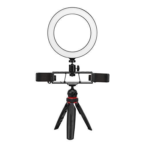 Esenlong Anillo de luz LED de 20 cm, regulable, puerto USB, lámpara de fotografía con trípode, palo selfie para teléfono, clip de teléfono, 3200 K - 5600 K, plástico, PC 80 unidades
