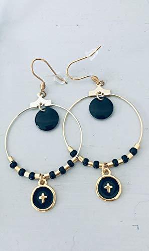 Kreolen, goldenes Kreuz und schwarze Perlenohrringe, Juwel für Frau, goldene Kreolen, vergoldetes Juwel, Schmuckgeschenke, Geschenk für Frauen, Juwel