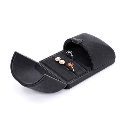 Aufbewahrungsbehälter Samt Ring Box Ring Ohrring Schmuckschatulle for Vorschlag / Engagement / Hochzeit / Gewerbe Schmuck Display Premium Schmuckschatulle Geschenkbox Schmucketui ( Color : Dark gray )