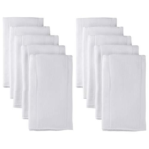 GERBER 10 Piece Organic Prefold Gauze Diaper with Pad, White