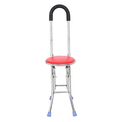 Taburete con muleta plegable de cuatro patas, bastón bastones Asiento de bastón plegable más antiguo bastón asiento de silla muleta bastón silla bastón