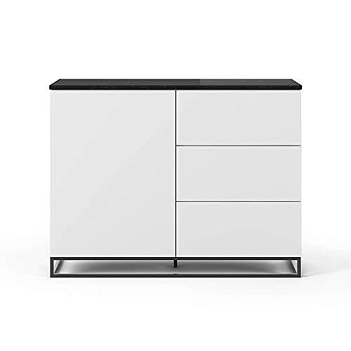 Buffets Design et élégants, Collection Join, signée TEMAHOME. - Join 120H2, piétement Acier Noir, Blanc Mat, Plateau en marbre