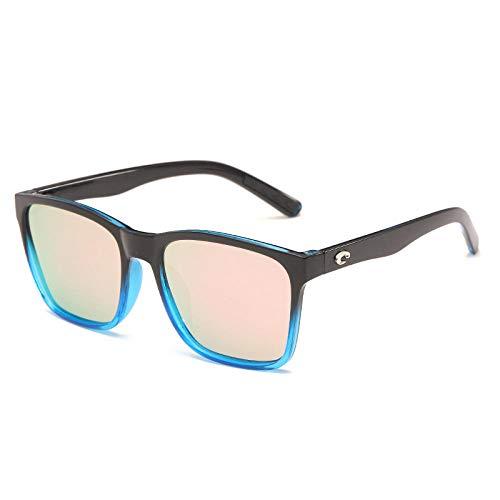 Gosunfly Gafas de sol Gafas de montura grande Gafas de sol polarizadas de película verdadera Espejos de playa-Polvo Barbie con marco negro y azul
