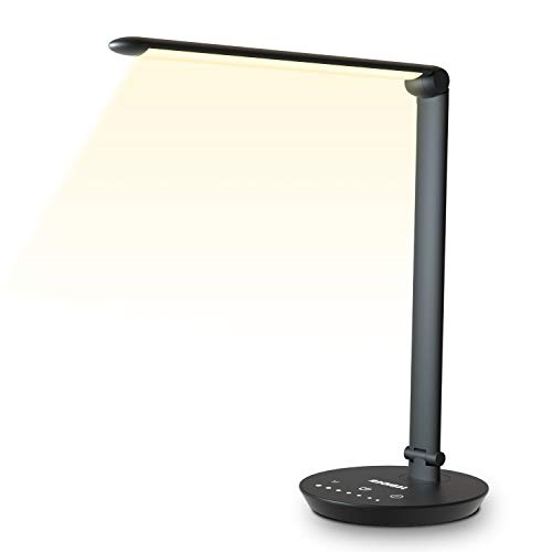 LED Schreibtischlampe, Büro Tischleuchte mit 7 Helligkeits und 5 Farbstufen, Augenschutz, Touchfeldbedienung, USB-Anschluss für Aufladung des Smartphones Tischlampe für Studium, Arbeit, zimmer