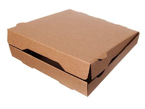 DeinPack Pizzakarton 30x30 Pizzaschachtel Karton für Pizza I Pizza-Boxen 30x30 cm Pizza-Kartons 100 Stück I Kompostierbare Verpackung Pizza-Box Quadratisch Recyclingkarton Braun