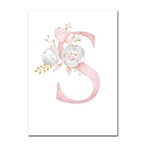 Baby Poster Personalisierte Mädchenname Benutzerdefinierte Poster Kinderzimmer Drucke Rosa Blumen Wandkunst Leinwand Malerei Bilder Für Mädchen Zimmer S 20X25cm Kein Rahmen