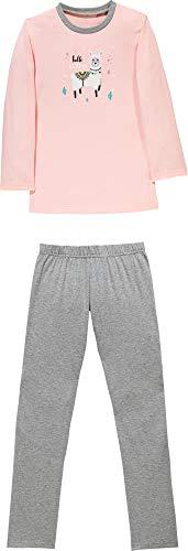 Erwin Müller Kinder Schlafanzug, Pyjama, Zweiteiler, Nachtwäsche Single-Jersey, Lama, Alpaka rosa Größe 158/164 - mit Gummibund, weich und anschmiegsam