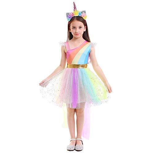 OBEEII Disfraz de Unicornio Niña Vestido Unicornio Princesa Tutú con Diadema Traje de Carnaval Cumpleaños Comunión Cosplay