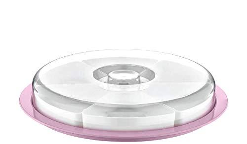 Rundes Servierschalen-Set mit Deckel | Tablett mit 6 Schalen ideal für Frühstück, Antipasti Platte, Snacks & Dips Süßigkeiten Snackschale Servier Set Box 34x6 cm | Runde Frühstücksplatte (Helllila)