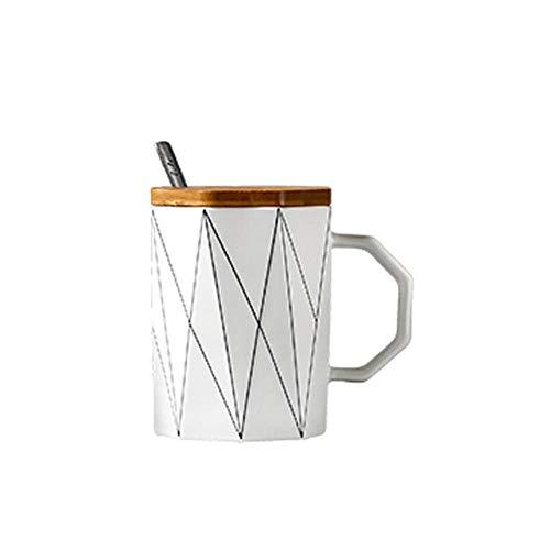 Kreative Matte geometrische Becher mit Bambusdeckel Metalllöffel, Mikrowelle Milch Tasse Linie Keramik Tasse Tassen Home Office Drink 400ml, 01