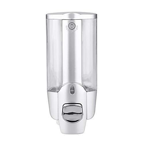 HURRISE Dispensador de jabón para Montar en la Pared, para Montar en la Pared del baño, 2 dispensadores de loción líquida, 350 ml, 350 ml, Silver Single Cup (#1)