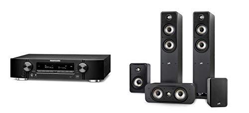 Marantz NR1710 kompakter 7.2-Kanal AV-Receiver (WiFi, Bluetooth, HDCP2.3, 4K, HEOS, AirPlay 2, Alexa kompatibel) schwarz + Polk Audio Signature E Series Lautsprecher Set 2 für Heimkino und Musik