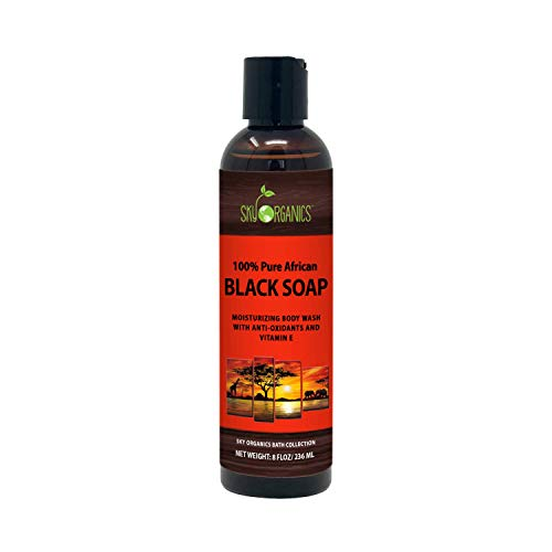 African Black Soap - Raw Natural Soap Ideal for Acne, Eczema, Dry Skin, Psoriasis, Scar Removal, Face & Body Wash, Authentic Liquid Black Soap From Ghana with Cocoa, Shea Butter & Aloe, 8oz (1 Pack)